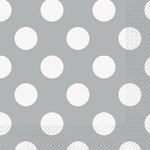 Punktmuster-Papierservietten - 16,5 cm - Silber - Packung mit 16 Stück
