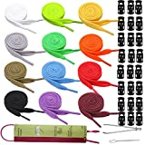 Joycoco 27 Pack Replacement Drawstrings for Sweatpants Shorts Hoodies with Drawstring Threaders and Plastic Cord Locks Drawstrings for Jackets Swim Trunks Shoe Laces Tote Bags 47' Long (Colorful)