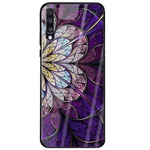 Handyhülle Compatible with Samsung Galaxy A50 Hülle TPU Grenze Gehärtetes Glas Rückseitige Tasche Anti-Scratch Schutzhülle Cover für Samsung Galaxy A50 Smartphone – Schöne Blumen (Samsung A50, 7)