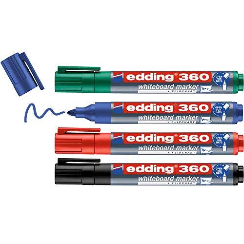 edding 360 Whiteboardmarker Set - bunte Farben - 4 Whiteboard Stifte - Rundspitze 1,5-3 mm - Boardmarker abwischbar - für Whiteboard, Flipchart, Magnettafel, Memoboard - Sketchnotes - nachfüllbar