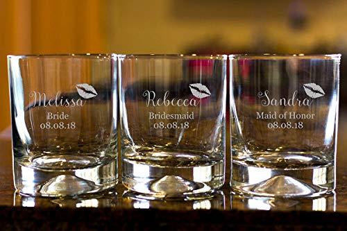 DKISEE Vaso de whisky con nombre de dama de honor, personalizable, copas de whisky, detalles de boda, 11 onzas de grosor, con peso inferior transparente, juego de 3 0,3 l G003