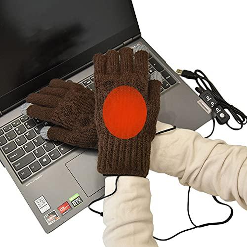 KUMADAI Guantes Moto Mujer, Guantes Calefactables USB Guantes Invierno Guantes Termicos Mujer Guantes de Calefacción Cálidos para Esquí Ciclismo,Marrón