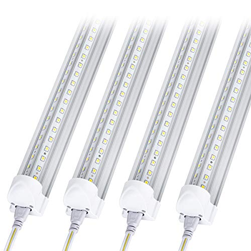 10Pack 8Ft LED Shop Light Fixture, 90W Integrated LED Tube Light,10000LM, 6500K, Clear Cover,High Output,Double Row V Shape 270 Degree LED Lighting for Garage Warehouse Workshop Basement