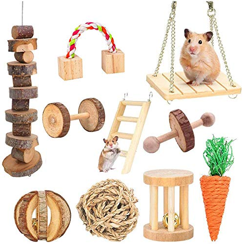 Supmaker Hamster Chew Toys, Guinea Pig Toys Natural Wooden Gerbil Rats Chinchillas Toys Accessories Dumbbells Exercise Bell Roller Teeth Care Molar Toy for Birds Bunny Rabbits Gerbils