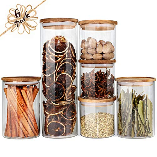 Glass Jars with Wood Lids Urban Green, Airtight Glass Canisters Sets, Glass Storage Containers, 6 Sets, Food Storage Containers, Glass Storage Jars with Lids, Glass Canisters, Panry Container Glass