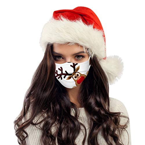 Face_Mask for Women,10pcs Disposable Christmas Face_Mask Breathable 3 Ply Elastic Earloops Protective Face Covers