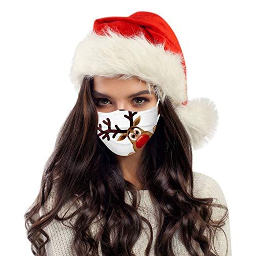 MOMOCA 10 Stück Weihnachtsmuster Mundschutz Mund-Nasen-Schutz Mundbedeckung Atmungsaktive Staubschutz Bandana Frauen männlich Staubdicht Multifunktional Halstuch