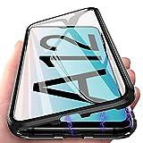 Funda para Samsung Galaxy A12 Carcasa Adsorción Magnética, E-Lush Funda 360 Grados Protección Transparente Caso Metal Flip Cover Frontal y Posterior Vidrio Templado Anti Choque Case Cover, Negro