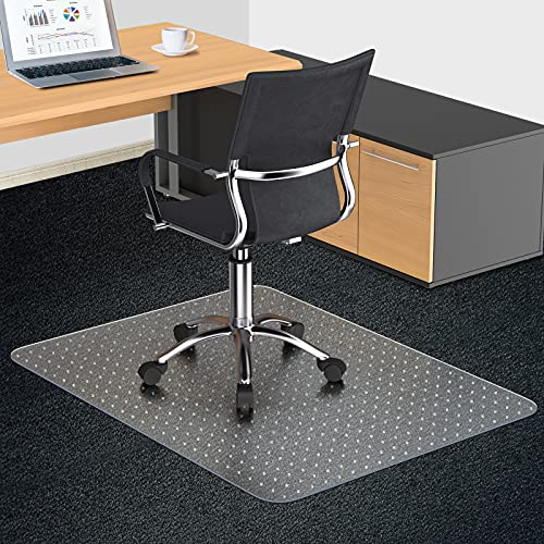 """Office Chair Mat for Carpeted Floors, 48""""X36″ 2.0mm Thick, Rectangle Desk Chair Mats with Studs for Low and Medium Pile Carpets, Easy Glide, Flat Without Curling"""