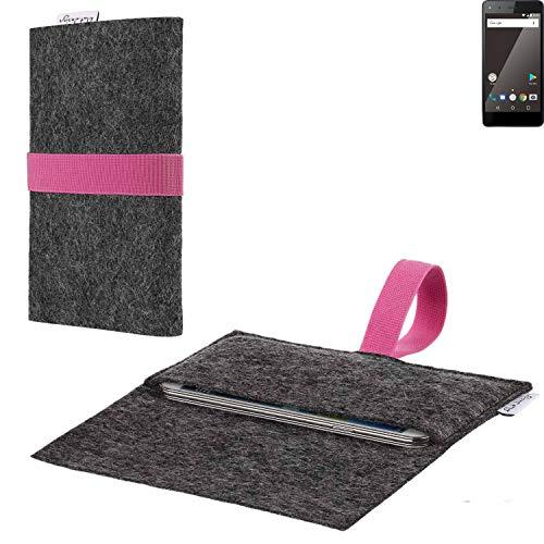 flat.design vegane Handy Hülle Aveiro für Blaupunkt SL 01 passgenaue Filz Tasche Case Sleeve Made in Germany