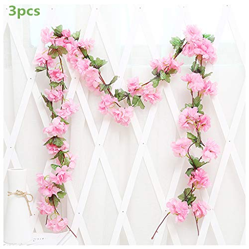 3Pcs Artificial Cherry Blossoms Hanging Rattan Garland Wreath Fresh Lovely of Fake Flower Plant Flower Vine Leaf for Home Party Garden Fence Christmas Wedding Decoration 220cm,B