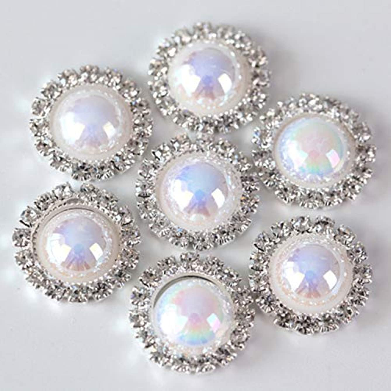 30PCS of Half Round Pearl Rhinestone Button Decorate Diamond Button with Silver Flatback for DIY Wedding (White AB, 16MM)