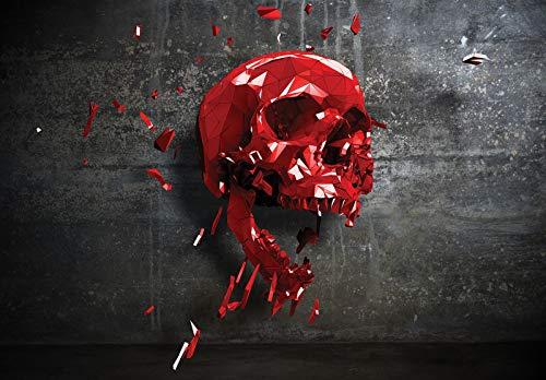 Forwall 12133V4 - Papel pintado fotográfico para pared, efecto 3D, diseño abstracto de calavera, color negro y rojo, 254 cm x 184 cm, para dormitorio o salón