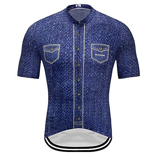 L.J.JZDY Fietsshirt Fietsbroek Korte mouwen Denim Shirt Zelfademhalend en sneldrogend Fietsslijtage Sportwear