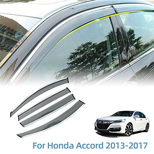 Vesul Outside Mount Tape-on Polycarbonate Rain Guards Window Visors for Honda Accord 2013-2017 Window Wind Deflector Shield Cover Sun Ventshade with 304 Stainless Steel Trim