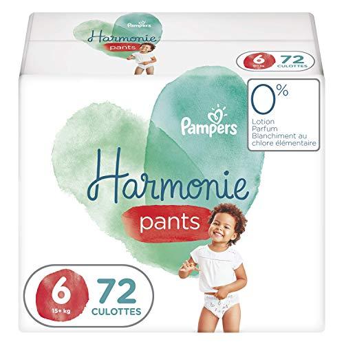 Pampers Couches-Culottes Harmonie Pants Taille 6 (15kg+) 0% de compromis, 100% d'absorption, Ingrédients d'Origine Végétale, Faciles à Changer, 72 Couches-Culottes (Lot de 4x18)