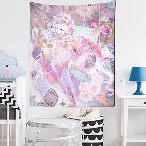 Tapiz de animación japonesa Mandala Alfombra de dibujos animados Tarot Niña Kimono Alfombra de pared Kawai Decoración colgante de pared