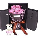 Scelet Kunstblumen Real Touch Seife Rosen Blumen mit Bär Geschenkbox zum Valentinstag Muttertag,...