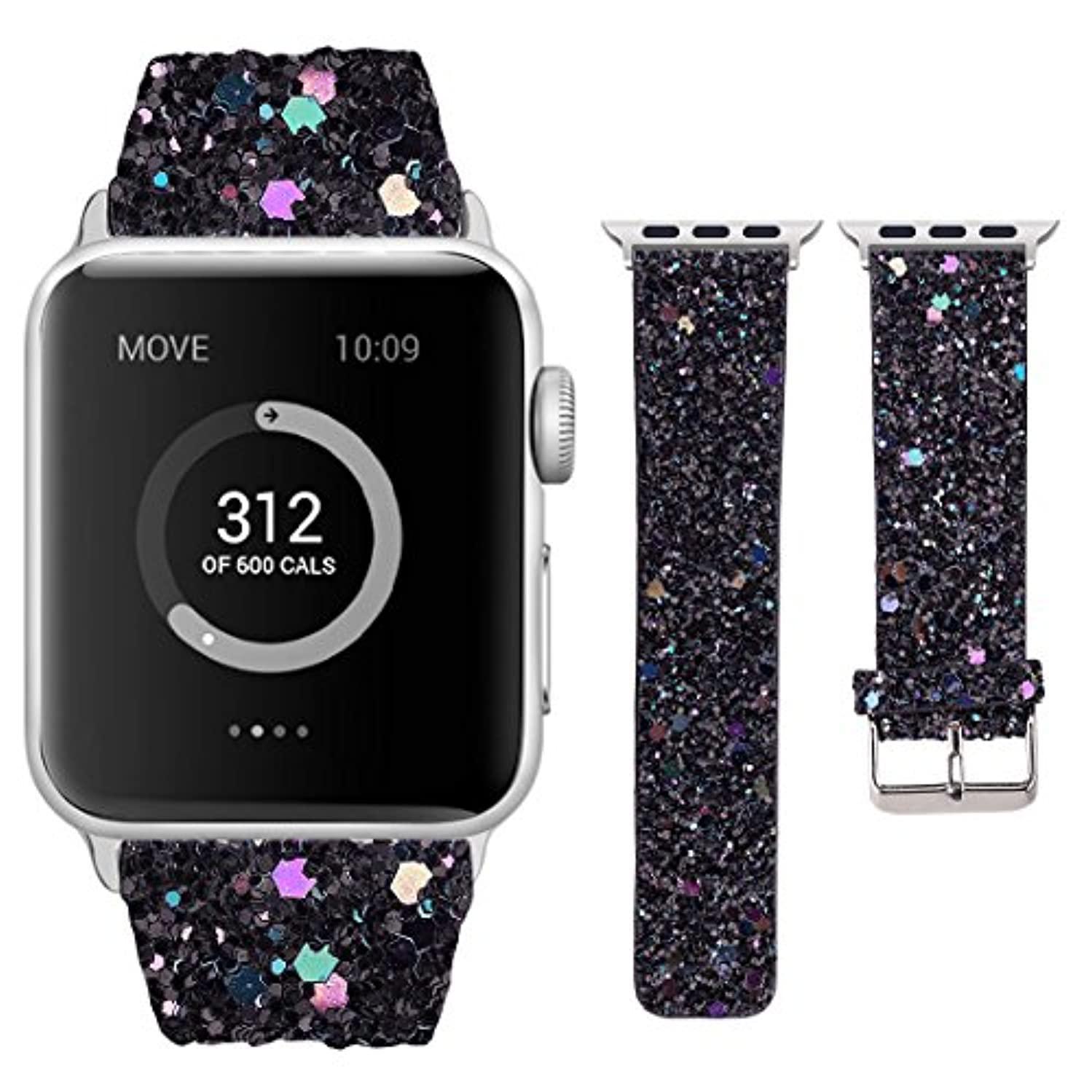 Moonooda Compatible with Apple Watch Bands 38(40) mm/42(44) mm, Women Wristband Replacement for iWatch Band, Bling Glitter Strap Belt Compatible with Apple Watch Series 4/3/2/1