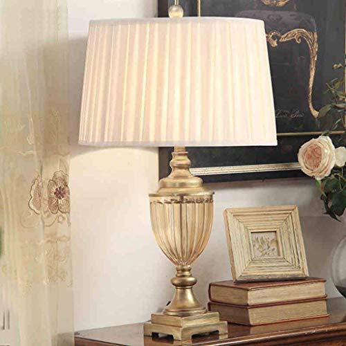 XUSHEN-HU Lámparas de mesa, personalidad simple lámpara de cristal europea, Salón Dormitorio Den creativo minimalista lámpara decorativa de cristal, pantalla de tela luz de la noche de lectura Lámpara