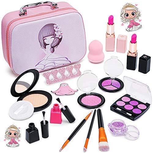 Pickwoo Faux Maquillage Enfant Fille - Coffret Malette Palette Maquillage Enfant RéAliste -Trousse Maquillage Enfant - Coiffeuse Enfant Fille pour Enfants Princesse Cadeau Filles 2 3 6 8 10 Ans