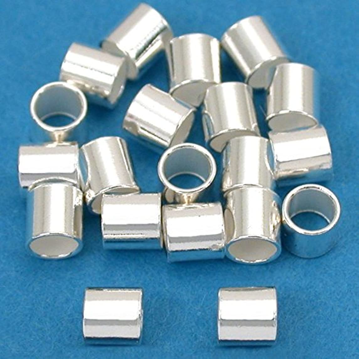 20 Large Sterling Silver Crimp Beads Tube Jewelry 3x3mm