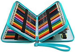 YOUSHARES 120 Slots Pencil Case - PU Leather Handy Multi-Layer Large Zipper Pen Bag with Handle Strap for Prismacolor Watercolor Pencils, Crayola Colored Pencils, Marco Pens and Makeup Brush (Green)