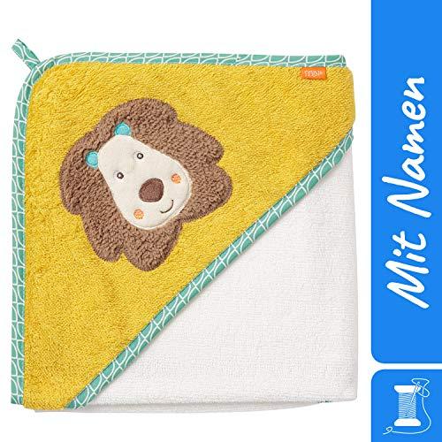 FEHN badhanddoek met capuchon met geborduurde naam, handdoek met capuchon voor baby en kinderen, badhanddoek bad-poncho kinderbadhanddoek met capuchon, 80x80 cm 80x80 cm multicolor