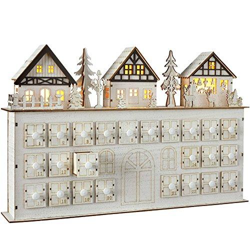 WeRChristmas Décoration de Noël Village Calendrier de l'avent en Bois, 44 cm – Blanc