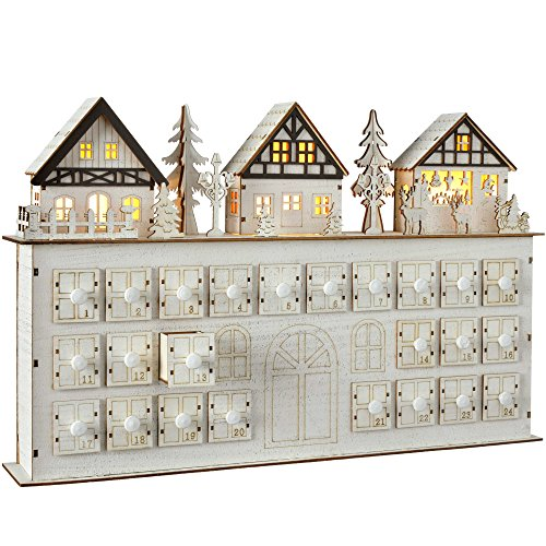 WeRChristmas–Villaggio In Legno Casa calendario dell' Avvento Natale, 44cm, colore: bianco
