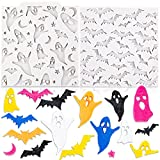 Qpout 2 pezzi Stampi in silicone fondente di Halloween, stampo in silicone per caramelle al cioccolato con design fantasma di pipistrello, per dolci da decorazione per torte di compleanno di Halloween