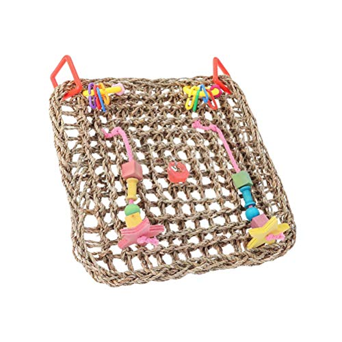 Red de escalada - Mascota Juguete de Masticar Hierba Natural Trenzado Juguete Loro Escalada Red Aves Swing Toy