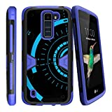 TurtleArmor   Compatible with LG K7 Case (2016)   LG Tribute 5   LG Treasure [Clip Caliber] Advanced Durable Armor Impact Silicone Belt Clip Holster Kickstand Blue - Blue Tron Target
