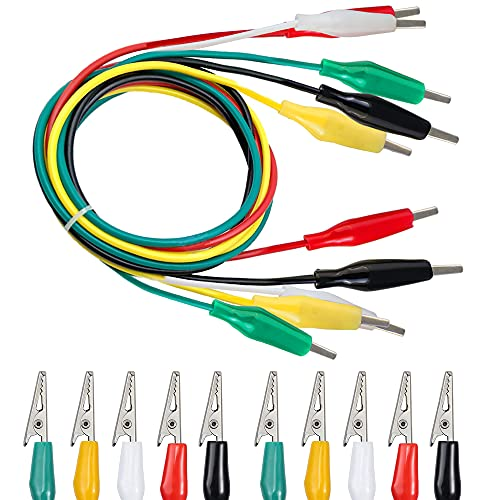 BUZIFU 30 Piezas Pinzas de Cocodrilo con Cable 5 Colores Diferentes Cables...