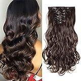 S-noilite - Extension a Clip Cheveux Naturel Clip in Hair Extensions Tête Pleine 8 Bandes 18 Clips 43cm Ondulé - Marron foncé
