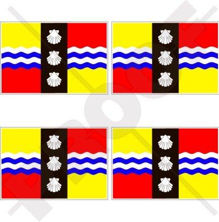 Comté Bedfordshire drapeau Angleterre UK Grande-Bretagne 5,1 cm (50 mm) bumper-helmet en vinyle autocollants, Stickers x4