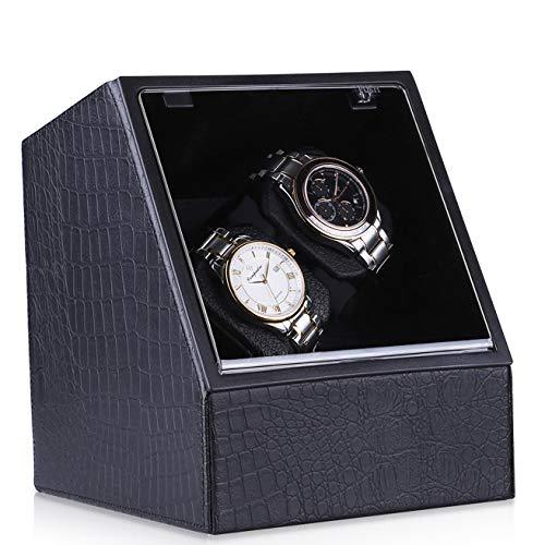 CRITIRON Uhrenbeweger für 2 Uhren aus PU Leder Watch Winder mit Netzteil Teilen Batterie Uhrenbox mit Leiser Motor Schwarz