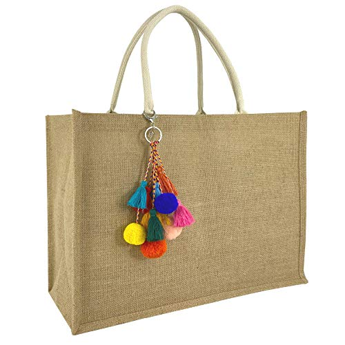 Hibala Woven Large Beach Bag Straw Bag Beach Tote Handmade Weaving Shoulder Bag Tassel Bag Handbag (Color2)