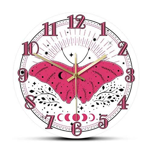 mazhant Mariposa Rosa con Elementos de Sol y Luna Estilo Boho Reloj de Pared silencioso Mariposa Arte de la Pared del Cuarto de niños Decoración del hogar Regalo de inauguración-30X30cm