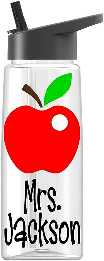 Teacher 34oz Water Bottle Personalized Teacher Water Bottle Apple Water Bottle School Water Bottle