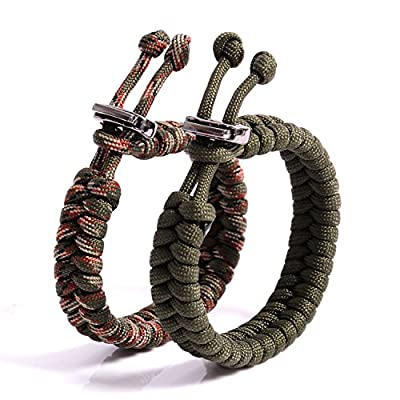 """The Friendly Swede Fish Tail Paracord Survival Bracelets with Metal Clasp, Adjustable Size Fits 7""""-8.5"""" (18-22 cm) Wrists (2 Pack) (Army Green + Army Green Camo)"""