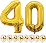 Youngneer - Balón de 40 años para mujer y hombre, 40 años de boda, cumpleaños, color dorado con número gigante, 40 números, 101 cm y 8 globos dorados para confeti