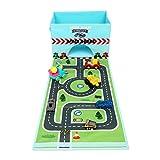 Livememory plegable caja de almacenamiento de juguetes Caja Organizador de juguetes de tela con Fun alfombra de juegos para niños (coches No Incluidos)