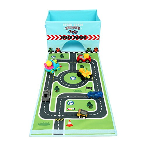 Livememory Toy Storage Box, Kids Toy Car Storage Box Toy Boxes for Boys with Fun Playmat (Cars Not Included)