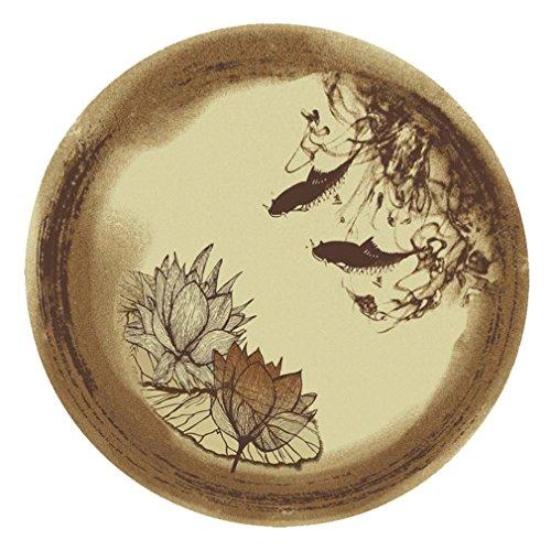 HERURU/DT-Moquette Tapis Rond Lotus Impression néo-Classique Pastorale Vent étude Chambre Ordinateur Chaise Mat Petit café Table Tapis