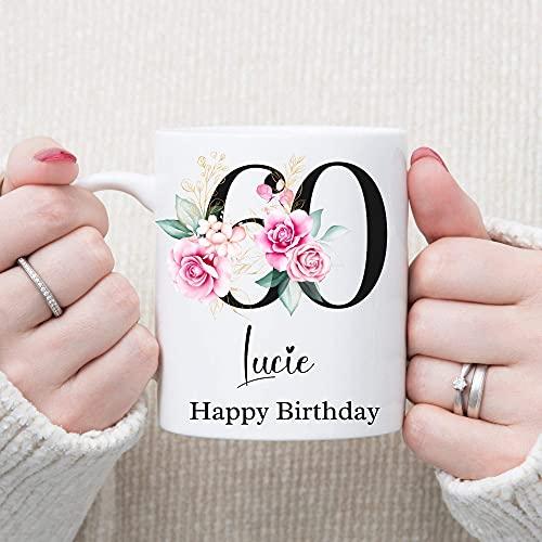 N\A Taza Personalizada de 60 cumpleaños, Taza Floral Negra, Taza de cerámica para el hogar y la Oficina, Regalo de Feliz cumpleaños de 11 onzas