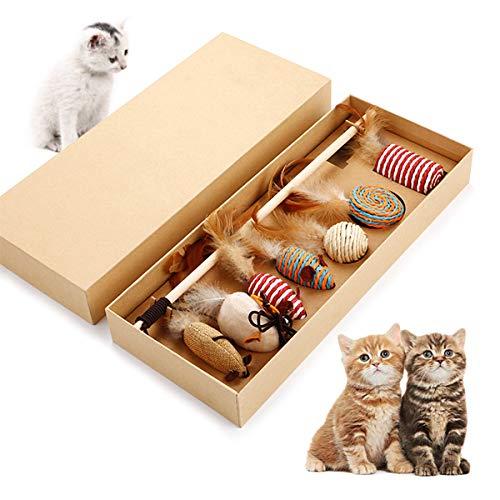 Cjixnji Ensemble de jouets pour chat, animal domestique jouet interactif, 7 pièces remplaçables de plumes jouet pour chat Fun Coffret cadeau pour Fun, exercice et l'Excitation dans votre vie de chat