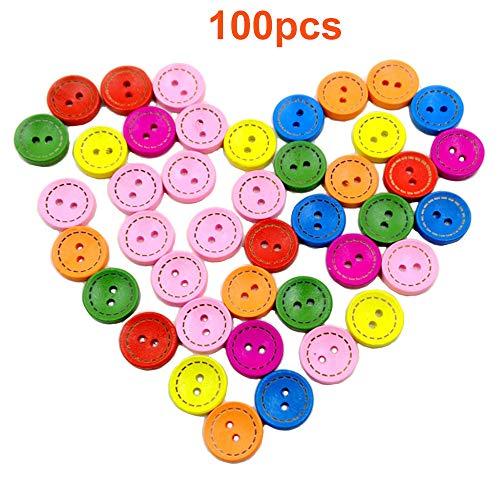Konrisa 100pcs Botones Artesanales 7 Color 20mm Hechos a mano Decorativos Botones de Madera 2 Orificios para Ropa de bebé Artesanía de Costura de Bricolaje Tejidos para niños Manual Pintura Botones