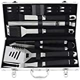 POLIGO 19PCS BBQ Grill Tool Set - Heavy Duty Stainless Steel Barbecue Grilling Utensil Set with Non-Slip Handle in Aluminum Case - Premium Outdoor Grill Accessories Birthday Gift Set for Dad Men