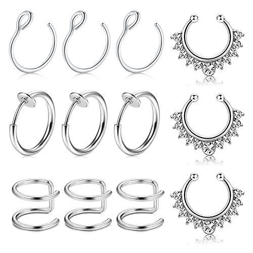MODRSA Fake Nose Ring Hoop, 12pcs Rose Gold Faux Fake Lip Ear Nose Septum Ring Non-Pierced Clip On Nose Ear Rings